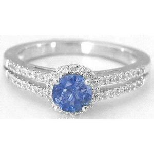 Solitaire with accent ceylon Prong set 3.50 carats